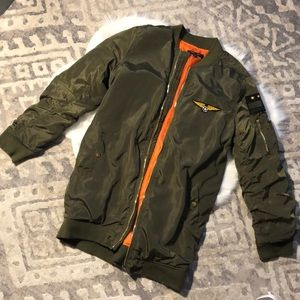 Army Green and Orange Bomber Jacket